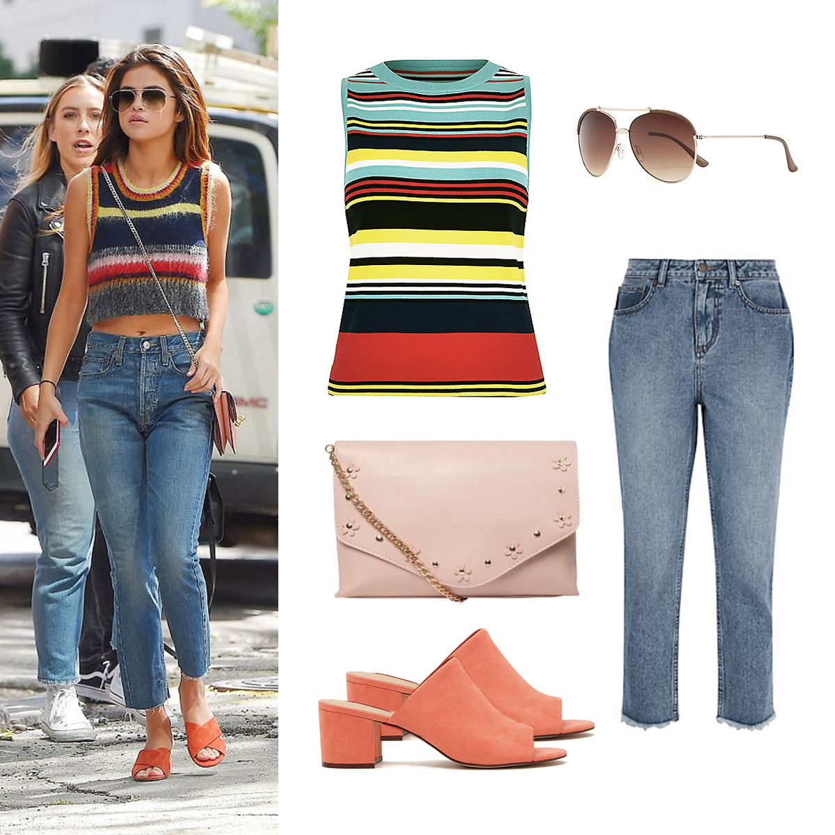 Get-The-Vegan-Look-Selena-Gomezs-Colourful-Stripe-Outfit-1